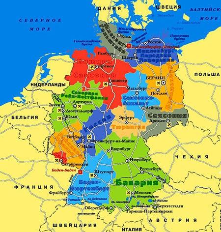 Германия: города и административное деление